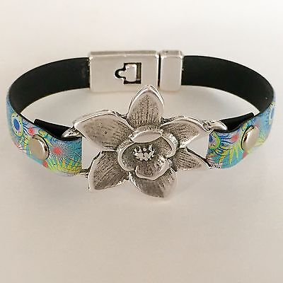 Leather Bracelet with Antique Silver Flower, Rivets, Clasp Size 7