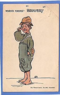 Rare 1903 Man Crying Weather Forecast Showery Rain Wrench Vintage Postcard