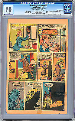 Amazing Fantasy #15 Cgc *pg* -Ng- 15Th Pg Only 1St Spider-Man App Stan Lee 1962