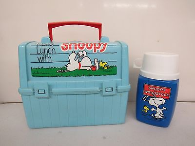Go To School With Snoopy 1968 Vintage Blue LUNCHBOX & THERMOS SET PEANUTS C967