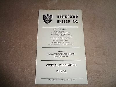 Hereford United v Swansea Town (City) 66/67 friendly