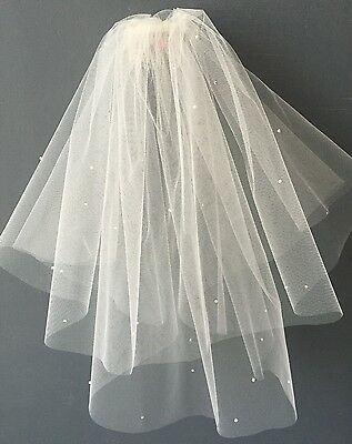 2 Tier Bridal Wedding Veil IVORY Tulle Pearls Sparkly Diamanté Short Chic