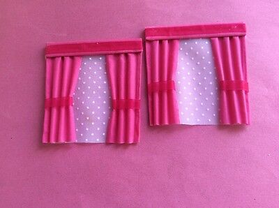 "2 Pink dolls house curtains  4""X 4"""