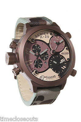 WELDER K29 8005 Brown Steel Camo Strap Chronograph New Men's Watch FAST SHIPP!