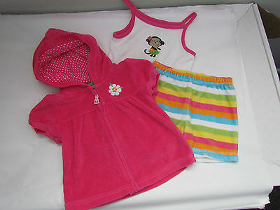 Carter's 3pc Pink White Striped Baby Girls Summer Outfit Size 6 Months
