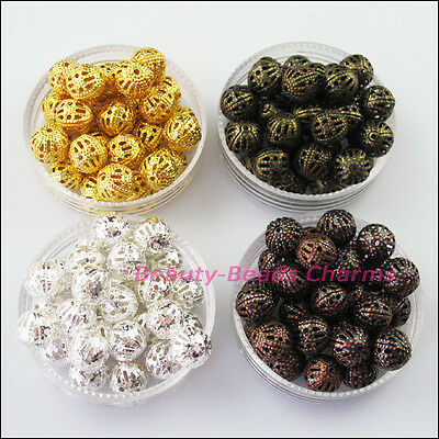 15Pcs Round Filigree Spacer Beads Charms 12mm Gold Silver Bronze Plated