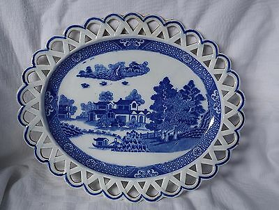 Antique staffordshire pearlware plate with arcade reticulated border.. c.1810
