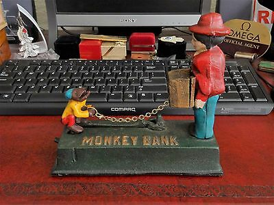 Vintage Cast Iron Mechanical Monkey Coin Bank!