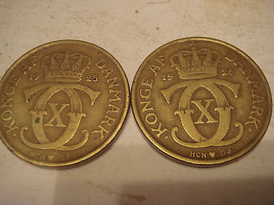 Denmark two 2 Ore coins 1926 & 1938 VG See Scan