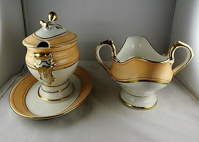 Paris Porcelain Peach Gravy Boat and Covered Sauce Boat w/Attached Underplate