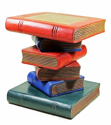 Small Wooden Stacked Book Table - Side Table Lamp/Plant Stand. Painted Coloured