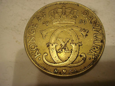 Denmark Two Ore coin 1939 VG See Scan