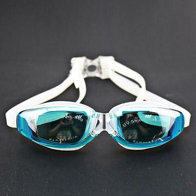 Swimming Goggles with Mirror Coated Lense Anti-fog UV Protection Earplug SkyBlue