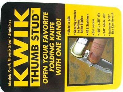 """KWIK THUMB Stainless Construction .4"""" x .28"""" THUMB STUD + Hex Wrench! KTS01756"""