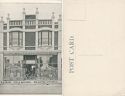 Postcard F A Crook bicycle builder shopfront Brighton Victoria Australia unused