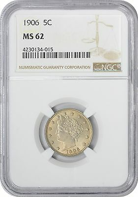 1906 Liberty Nickel MS62 NGC Mint State 62