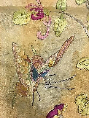 Antique Chinese Silk embroidered Flowers Butterflies