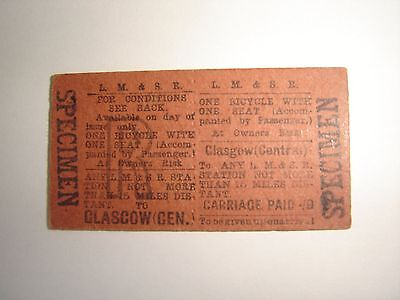 Railway Ticket :   LM & SR  One Bicycle  Glasgow Central