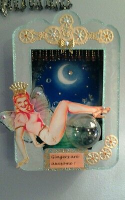Original, one-of-a-kind Pin-up Fairy Shadowbox with Swarovski Crystals by DonnaS