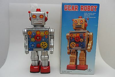 Rare Gear Robot Battery Operated by RM Metal House Toys Made in Japan Box
