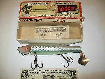 "Vintage Wood Heddon 6.75"" Musky Flaptail SD Shad w/ Box Lure Fishing"