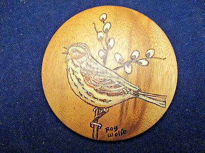 Bird Christmas Ornament On Ore Myrtlewood,signed By Roy Wolfe,great Condition