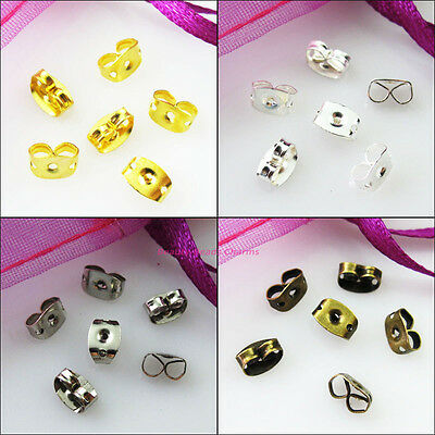 100Pc Earring Post Butterfly Back Stopper Gold Dull Silver Bronze Plated 4.5x6mm
