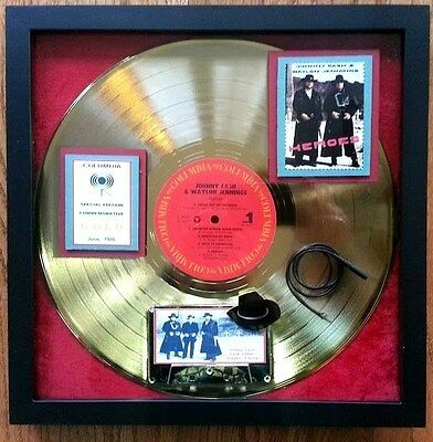 HEROES Gold Record JOHNNY CASH & WAYLON JENNINGS with Lash LaRue  RARE-EXTREME