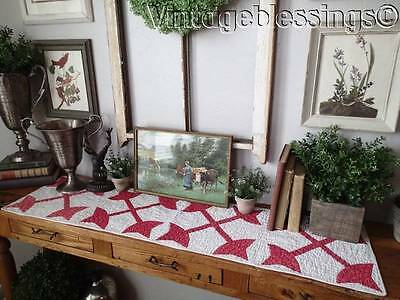 Primitive Antique Turkey Red And White Quilt Table Runner c1880s 59x12
