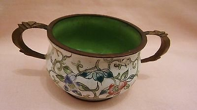 Antique Miniature Metal Enamel Twin Handle Chamber Pot In Very Good Condition.