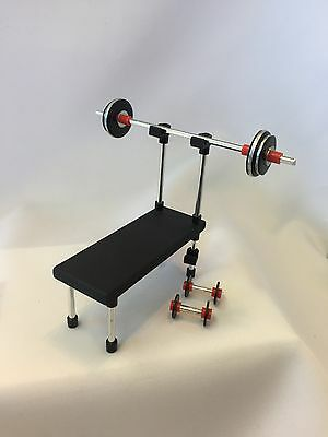 "Dollhouse Miniature Hand Made Medium Weight Lifting Set 4 Pc. 1"" Scale"