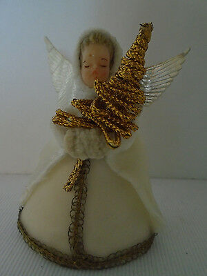 Vintage 1940's Kostel Wax Chenille White Angel Christmas Ornament