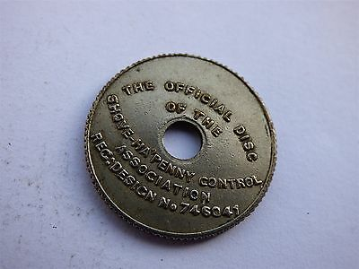 The Official Disc Shove Ha`penny Control Association 1929 Token (myrefn61B)