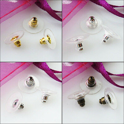 80Pc Earing Post Nut W/Pads Back Stopper 6x11.5mm Gold Dull Silver Bronze Plated