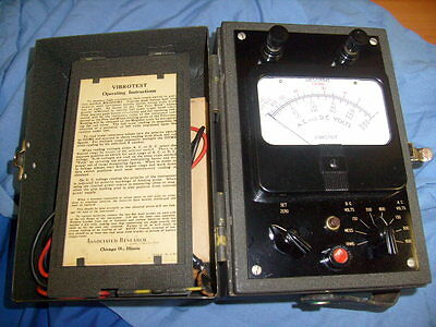 Vintage Vibrotest  Megger Associated Research Antique with leads, directions 201