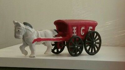 Vintage Cast Iron Horse Drawn Ice Delivery Wagon