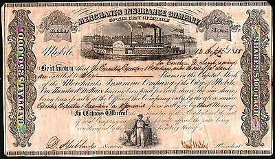 1855 Mobile Alabama - Merchants Insurance Company RARE Stock Certificate