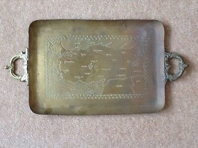 Tray - Very Old - Interesting Map Engraved - Unusual Dont Miss
