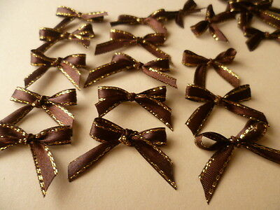 30 Pretty in Brown/Gold Ribbon bows  for card making/scrap booking help charity