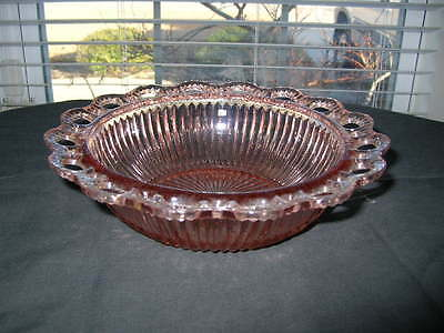 Pink Depression Glass Bowl-Old Colony/Open Lace