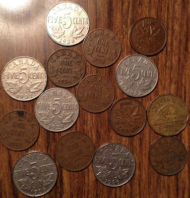 Lot Of 15 Canada Small Cents And 5 Cents Including Both 1926 Key Coin