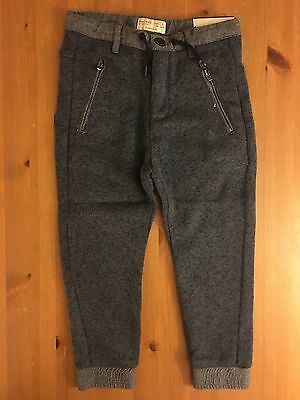 Nwt Zara Boys Collection Sweat Pants Size 6 Blue/green 100% Polyester