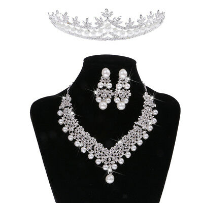 Elegant Pearls Jewelry Set Necklace Earring Tiara Set Wedding Bride Party