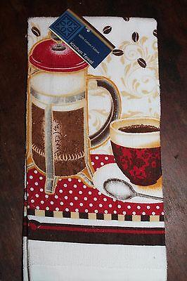 NEW COTTON COFFEE CUP PRESS CAFE BEANS KITCHEN  DISH TOWEL White Red and Brown