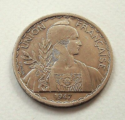 French Indo-China Large 1947 1 Piastre Coin - Nice High Grade @ No Reserve!