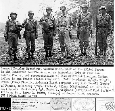 1944-General Douglas MacArthur-Meets 5 Different American Indian Tribes-US Army
