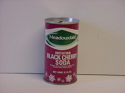 Vintage Meadowdale Black Cherry Pull Tab Soda Can Top Opened