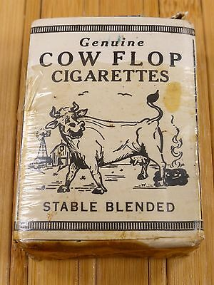 Vtg Chesterfield Cow Flop Cigarettes Pack Tax Stamp Funny Joke Novelty Manure