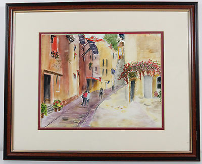 Impressionist Watercolor Painting Cityscape French Town Signed B Melrose