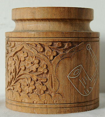Vintage Bamboo Wood Hand Carved Decorative Flower Vase Pot From India